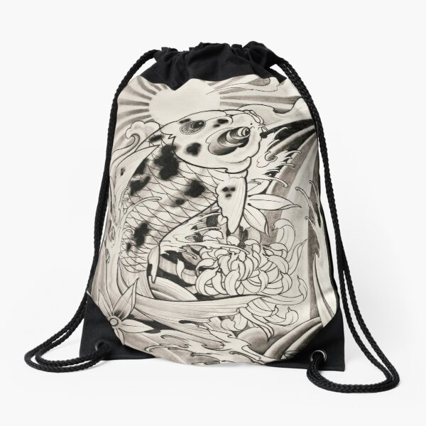 koi fish by Luke Red Drawstring Bag