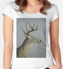 Portrait of a Deer Women's Fitted Scoop T-Shirt