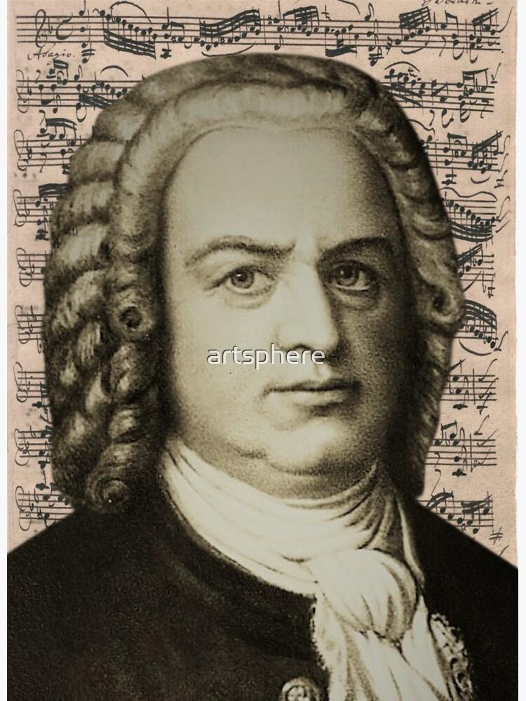 Composer Johann Sebastian Bach ~ Portrait w/ Bach Autograph Manuscript by artsphere