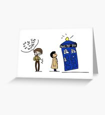 Castiel and the Doctor - the angel has the phone box Greeting Card