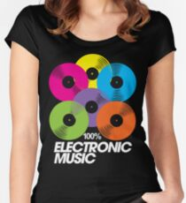 100% Electronic Music (black) Women's Fitted Scoop T-Shirt