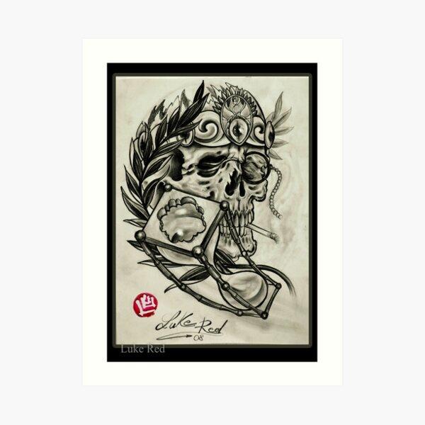 Skull with laurel and hourglass  Luke Red Art Print