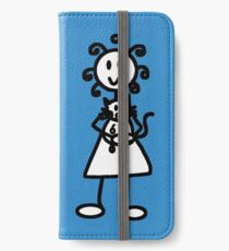 The Girl with the Curly Hair Holding Cat - Blue iPhone Wallet/Case/Skin