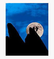Mountain Climbers Highlighted by the Moon Photographic Print