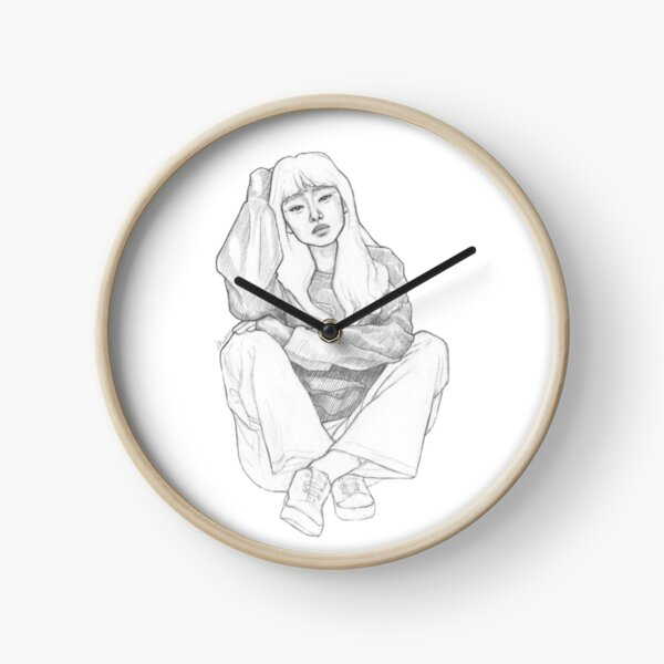 Girl sitting - Black& White Pencil Line Sketch - Drawing by MadliArt Clock