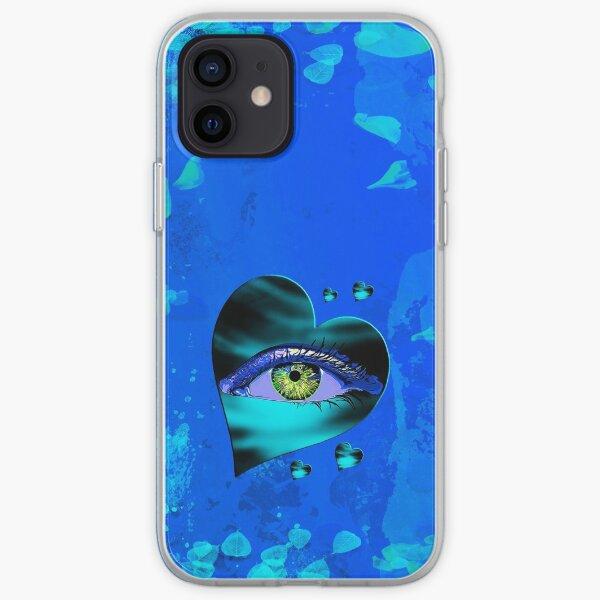 Legakulie Herz Auge Blütenblätter türkis blau iPhone Flexible Hülle