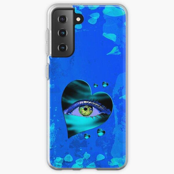 Legakulie Herz Auge Blütenblätter türkis blau Samsung Galaxy Flexible Hülle