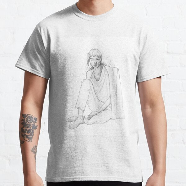 Moody girl sitting - Black& White Pencil Line Sketch - Drawing by MadliArt Classic T-Shirt