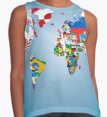 Traveler World Map Flags  Contrast Tank