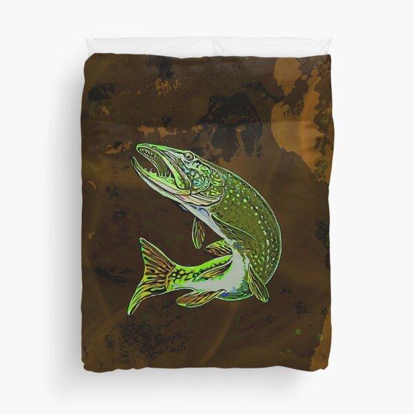 Legaculia pike brown green Duvet Cover