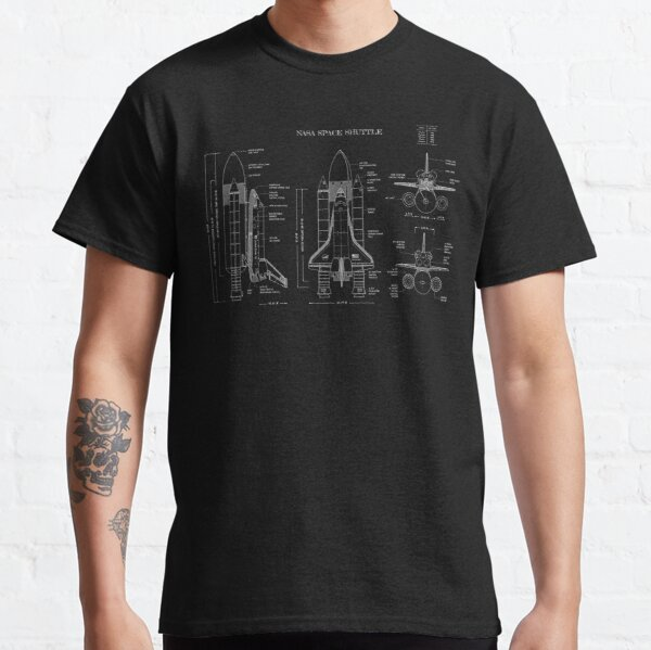 NASA Space Shuttle  (White Stencil-No Background) Classic T-Shirt