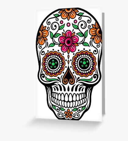 Colorful Floral Skull Greeting Card