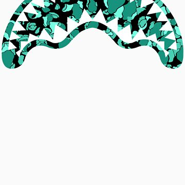 Iconic Shark Chomper Teal Camo by jjaysonn