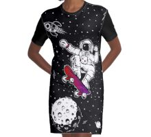 space astronaut skateboard Graphic T-Shirt Dress