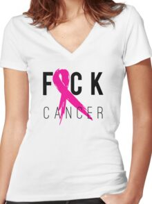 F*CK Breast Cancer! Women's Fitted V-Neck T-Shirt
