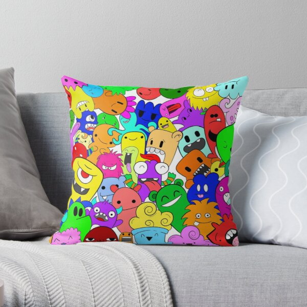 Doodle Monsters Throw Pillow