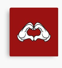 Mickey Hands Heart Love Canvas Print