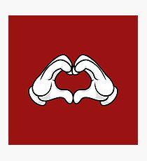 Mickey Hands Heart Love Photographic Print
