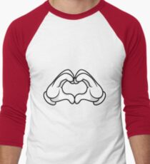 Mickey Hands Heart Love Men's Baseball ¾ T-Shirt