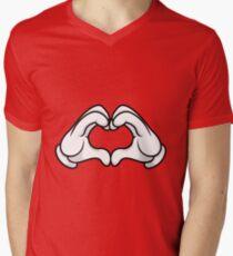 Mickey Hands Heart Love Mens V-Neck T-Shirt