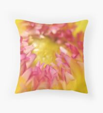 Pink and Yellow Dahlia, As Is Throw Pillow