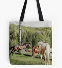 Percheron Thoroughbred Jumper Artwork Tote Bag