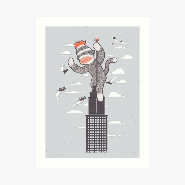 Sock Monkey Just Wants a Friend Art Print