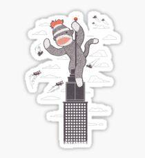 Sock Monkey Just Wants a Friend Sticker