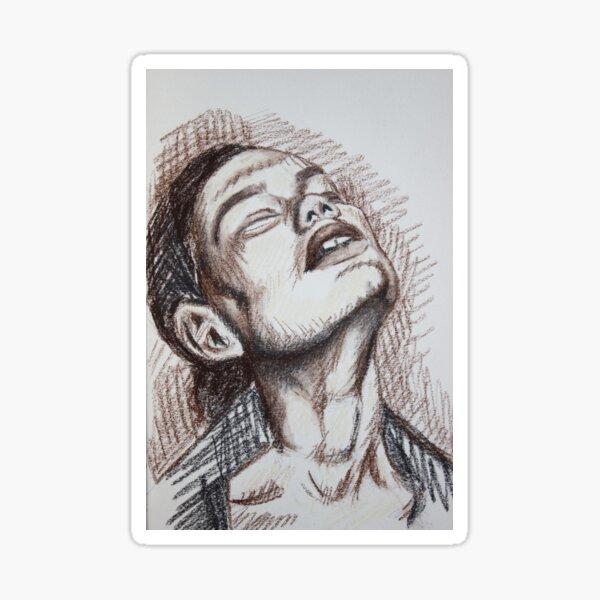 Frau Portrait Skizze Pastell  Sticker