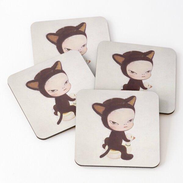yoshitomo nara cat Coasters (Set of 4)