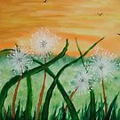 Dandelions in the meadow by George Hunter