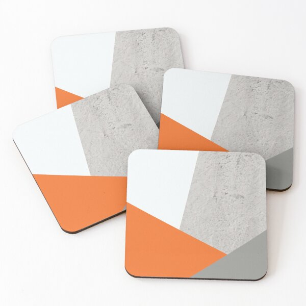 Grey Orange and Concrete Color Block Coasters (Set of 4)