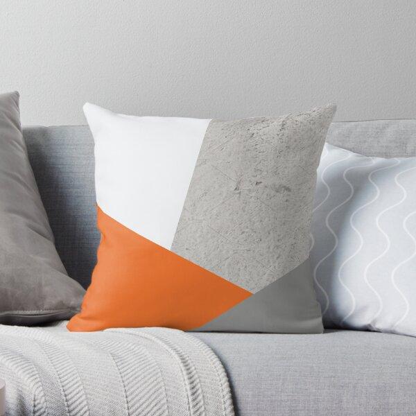 Grau Orange und Beton Farbblock Dekokissen