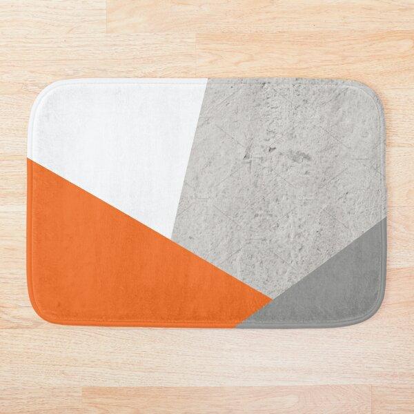 Grey Orange and Concrete Color Block Bath Mat