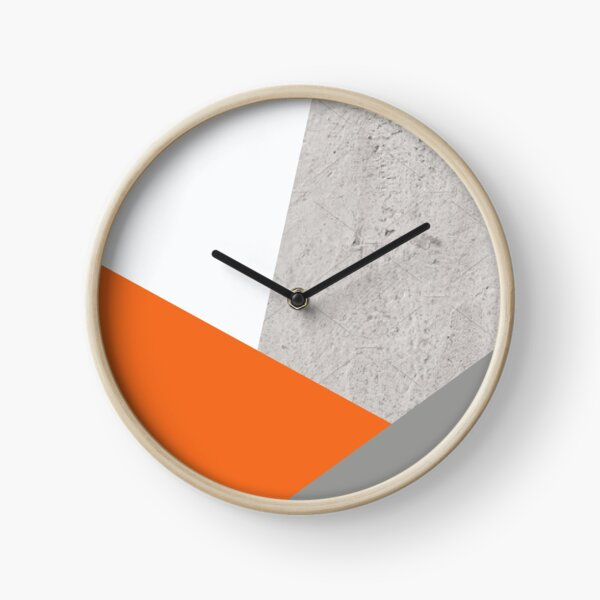 Grey Orange and Concrete Color Block Clock