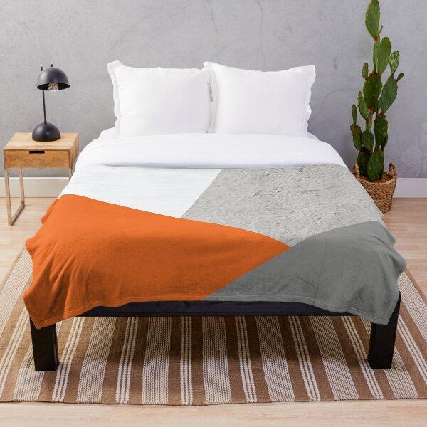 Grey Orange and Concrete Color Block Throw Blanket