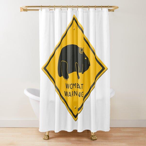 Cartoon - Wombat warning sign.  Shower Curtain