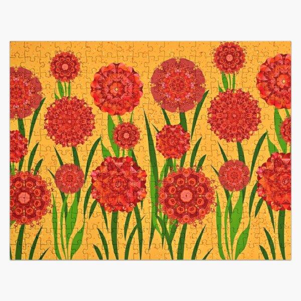 Orange Blumenwiese Puzzle