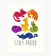 LGBT + PRIDE CATS Art Print