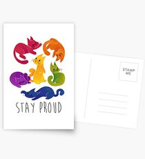 LGBT + PRIDE CATS Postcards