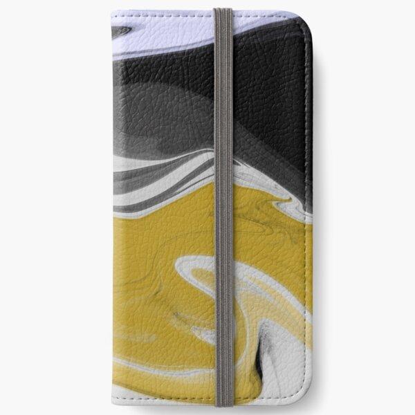 Liquid Black Gold Swirls iPhone Wallet
