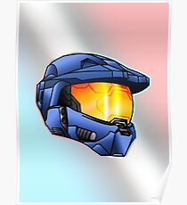 Stylised Spartan Blue Poster