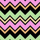 Chevron Pink Green Orange Zigzag Pattern by Beverly Claire Kaiya