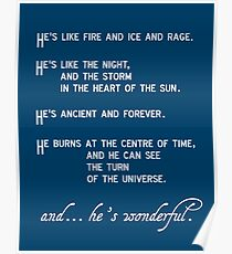 """""""He's like fire and ice and rage"""" doctor who Poster"""