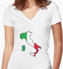 Italy Map With Italian Flag Women's Fitted V-Neck T-Shirt