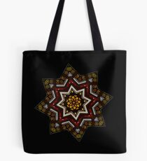 Stained Glass Octagram in Red and Yellow Tote Bag