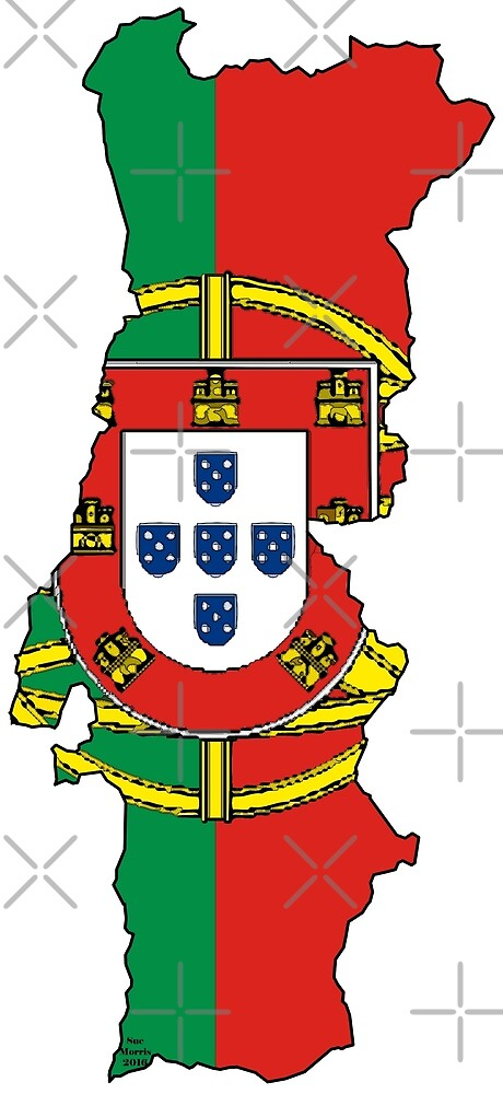 Portugal Map With Portuguese Flag by Havocgirl