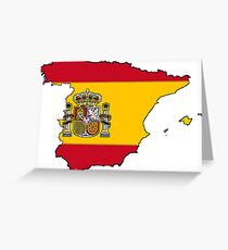 Spain Map With Spanish Flag Greeting Card