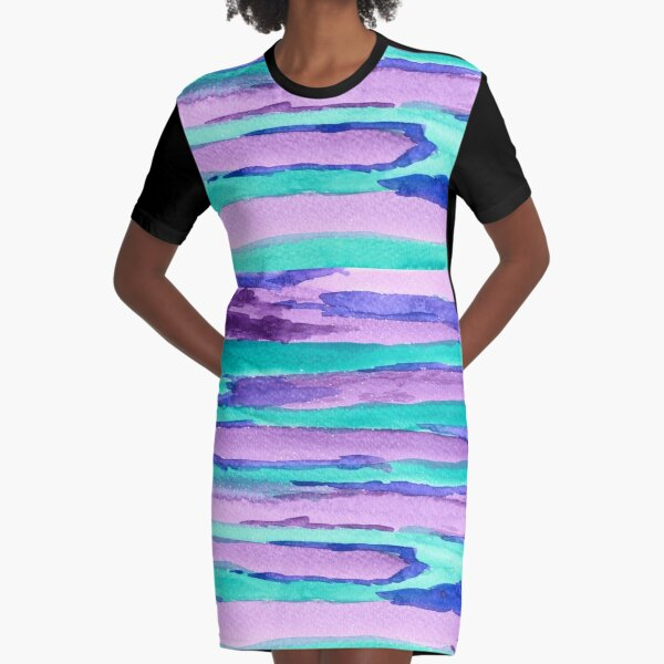 Watercolor Hand Painted Purple Turquoise Abstract Stripes Graphic T-Shirt Dress
