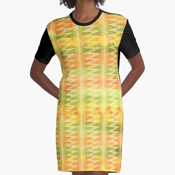 Hand-Painted Watercolor Stripes Pomo Zigzag Tribal Graphic T-Shirt Dress